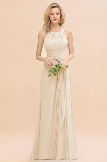 BMbridal Elegant Round Neck Sleeveless Stormy Bridesmaid Dress with Ruffles_14