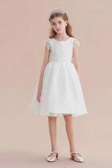 BMbridal A-Line Cap Sleeve Lace Bow Flower Girl Dress On Sale_1