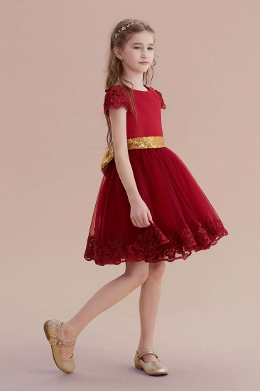 BMbridal A-Line Cap Sleeve Bow Knee Length Flower Girl Dress Online_6