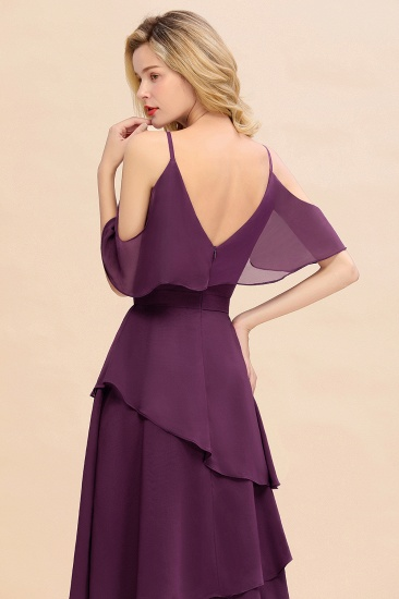 BMbridal Chic Cold-Shoulder Layers Grape Chiffon Bridesmaid Dress Affordable_9