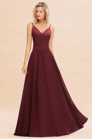 BMbridal Simple Satin Chiffon Spaghetti-Straps Burgundy Long Bridesmaid Dress_4