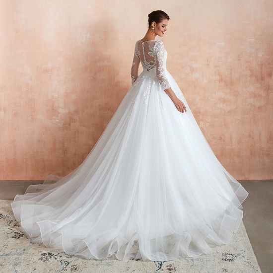 Affordable Lace Jewel White Tulle Wedding Dresses with 3/4 Sleeves_8
