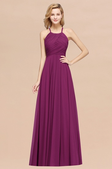 BMbridal Halter Crisscross Pleated Bridesmaid Dress Blue Chiffon Sleeveless Maid of Honor Dress_42