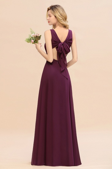 BMbridal Affordable V-Neck Ruffle Long Grape Chiffon Bridesmaid Dress with Bow_52