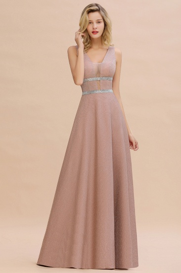 Shinning V-Neck Sleeveless Long Prom Dress Online With Zipper Back_6