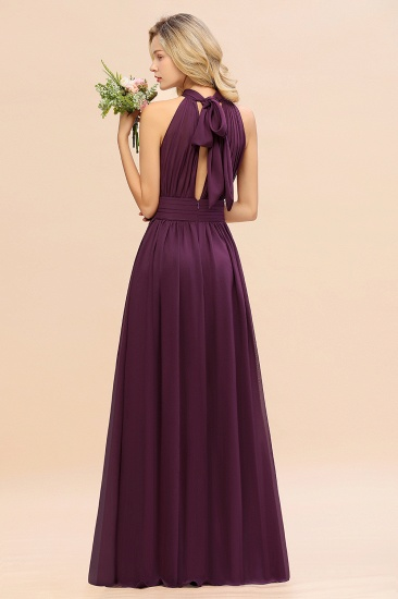Glamorous High-Neck Halter Bridesmaid Affordable Dresses with Ruffle_52
