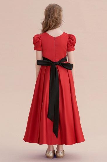 BMbridal A-Line Awesome Short Sleeve Satin Flower Girl Dress Online_3