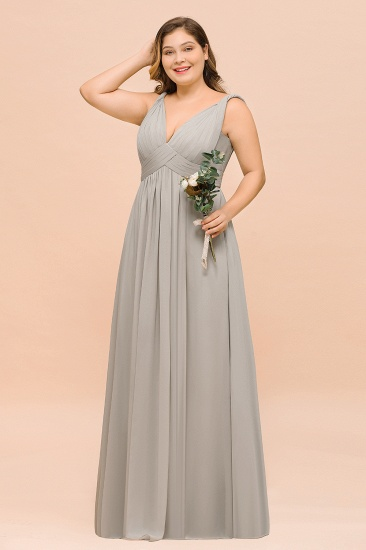BMbridal Plus Size Chiffon V-neck Sleeveless Affordable Bridesmaid Dress with Ruffle_4