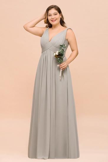 Plus Size Chiffon V-neck Sleeveless Affordable Bridesmaid Dress with Ruffle_4