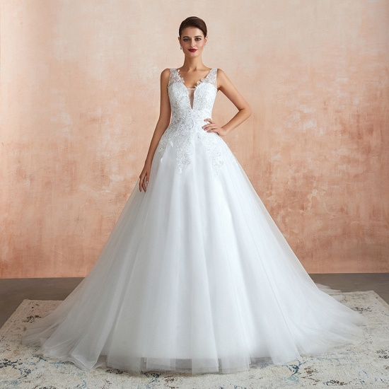 Fantastic Tulle Appliques Sleeveless White Wedding Dresses Online_6