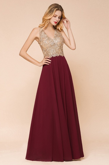 BMbridal Gorgeous V-Neck Burgundy Prom Dress Long Sleeveless Evening Gowns With Appliques_14