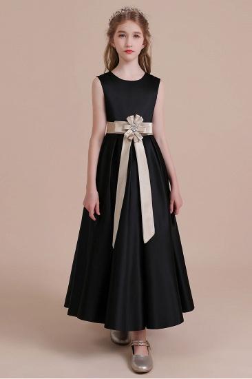 BMbridal A-Line Elegant Satin Flower Girl Dress Online_4