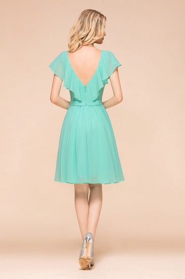 Chic V-Neck Ruffle Chiffon Short Affordable Bridesmaid Dresses Online_2