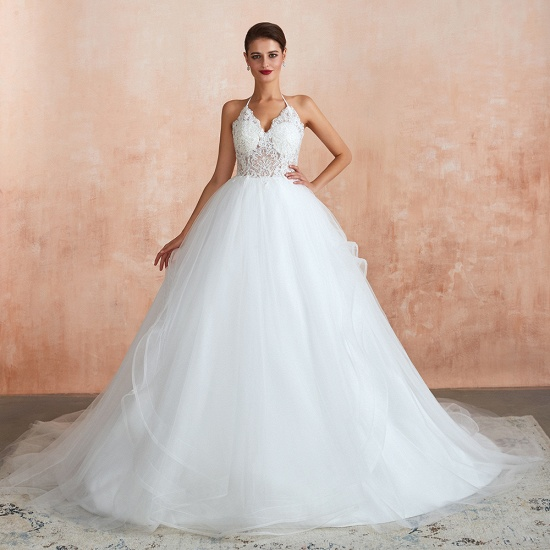 Exquisite Lace Halter Ball Gown White Wedding Dress with Open Back_3