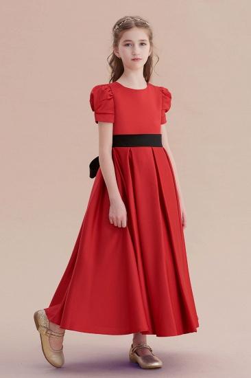 BMbridal A-Line Awesome Short Sleeve Satin Flower Girl Dress Online_5