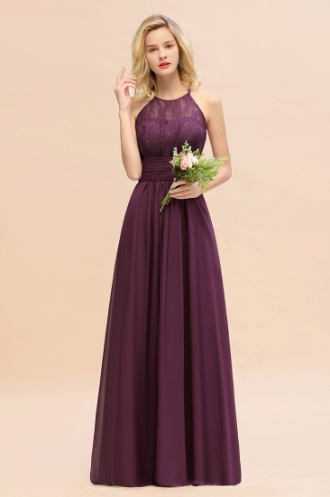 Elegant Halter Ruffles Sleeveless Grape Lace Bridesmaid Dresses Cheap_20