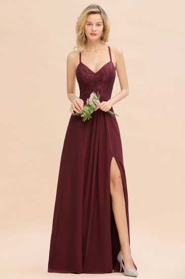 Elegant CrissCross Back Burgundy Lace Bridesmaid Dress With Spaghetti Straps_5