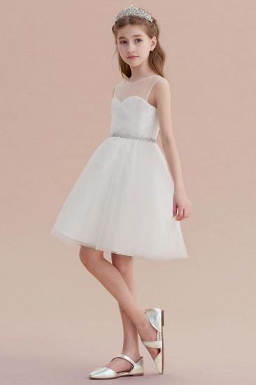 BMbridal A-Line Illusion Knee Length Tulle Flower Girl Dress Online_6