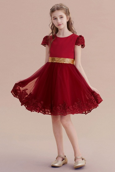 BMbridal A-Line Cap Sleeve Bow Knee Length Flower Girl Dress Online_7
