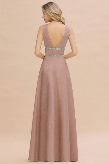 Shinning V-Neck Sleeveless Long Prom Dress Online With Zipper Back_4
