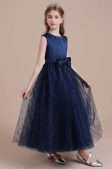 BMbridal A-Line Chic Bow Tulle Flower Girl Dress Online_4