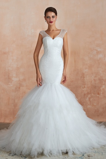 Sparkly Mermaid Sweetheart White Tulle Wedding Dresses with Sequins