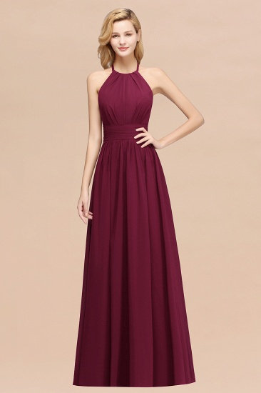 Elegant High-Neck Halter Long Affordable Bridesmaid Dresses with Ruffles_44