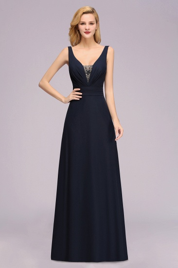 Modest Chiffon V-Neck Long Bridesmaid Dress Online with Beadings_1