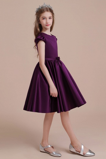 BMbridal A-Line Graceful Cap Sleeve Satin Flower Girl Dress Online_6