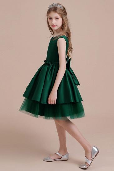 BMbridal A-Line Bow Beading Satin Tulle Flower Girl Dress On Sale_6