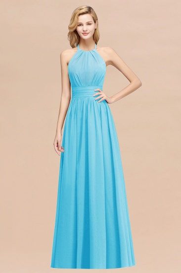 Elegant High-Neck Halter Long Affordable Bridesmaid Dresses with Ruffles_24