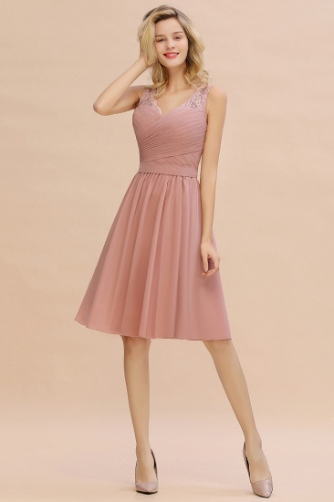 Affordable V-Neck Sleeveless Ruffles Short Lace Bridesmaid dresses Online_7