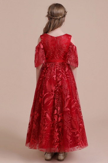 BMbridal A-Line V-neck Tulle Cold-shoulder Flower Girl Dress On Sale_3