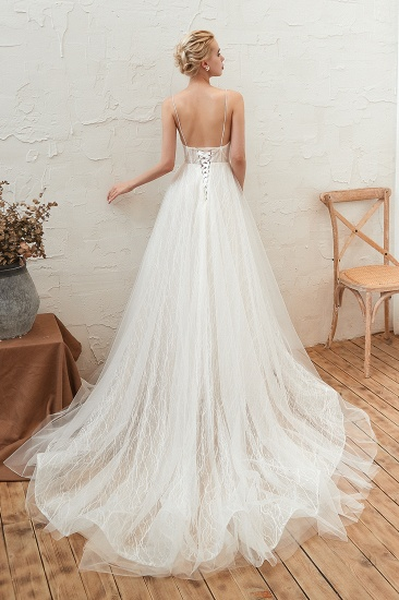 Affordable Tulle V-Neck Long Wedding Dress Online with Appliques_3