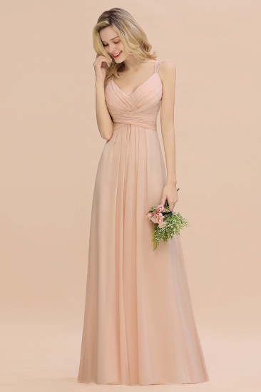 Elegant Spaghetti Straps Pink Backless Bridesmaid Dresses with Beadings_5