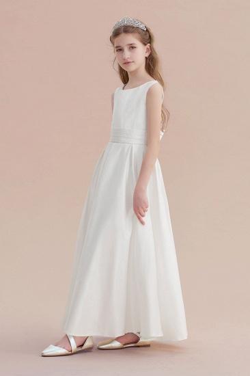 BMbridal A-Line Simple Satin Flower Girl Dress On Sale_4