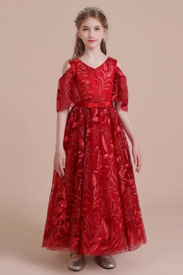 BMbridal A-Line V-neck Tulle Cold-shoulder Flower Girl Dress On Sale_1