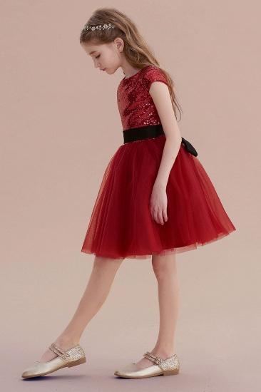 BMbridal A-Line Cap Sleeve Sequins Tulle Flower Girl Dress On Sale_4
