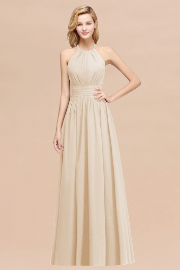 Elegant High-Neck Halter Long Affordable Bridesmaid Dresses with Ruffles_14