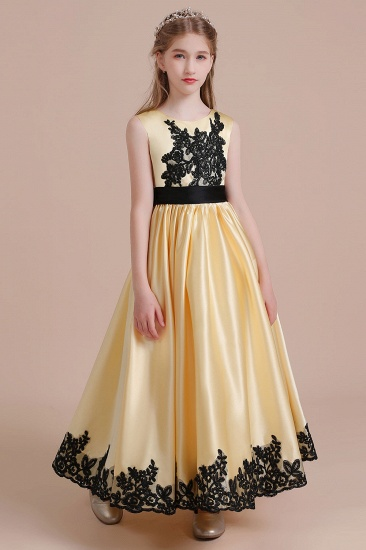 BMbridal A-Line Chic Bow Appliques Satin Flower Girl Dress Online_4