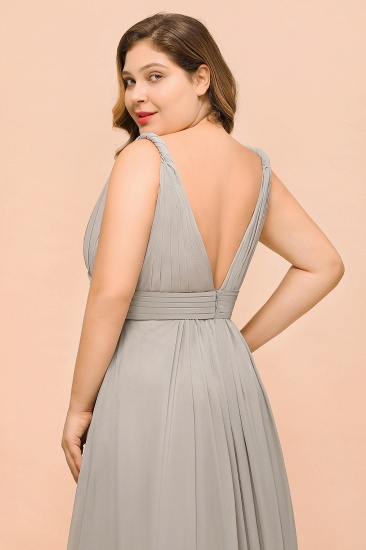 BMbridal Plus Size Chiffon V-neck Sleeveless Affordable Bridesmaid Dress with Ruffle_9