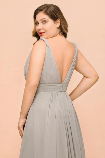 Plus Size Chiffon V-neck Sleeveless Affordable Bridesmaid Dress with Ruffle_9