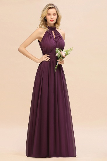Glamorous High-Neck Halter Bridesmaid Affordable Dresses with Ruffle_53
