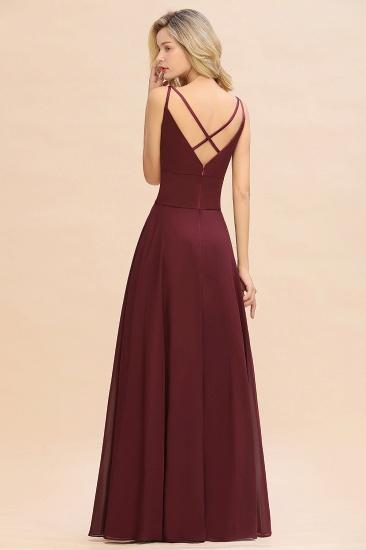 BMbridal Simple Satin Chiffon Spaghetti-Straps Burgundy Long Bridesmaid Dress_3