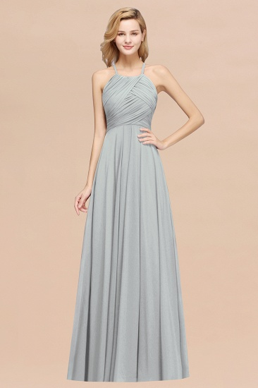 Halter Crisscross Pleated Bridesmaid Dress Blue Chiffon Sleeveless Maid of Honor Dress_30