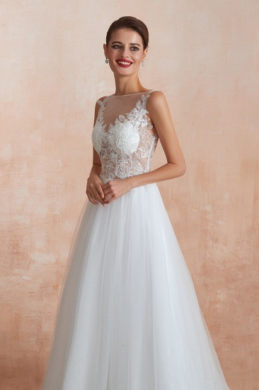 Exquisite Sequins White Tulle Cheap Wedding Dresses with Appliques_9