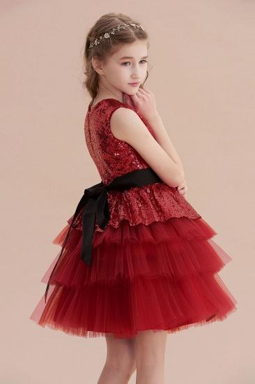 BMbridal A-Line Tulle Sequins Knee Length Flower Girl Dress Online_6