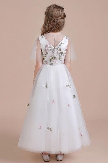 BMbridal A-Line Short Sleeve Embroidered Tulle Flower Girl Dress On Sale_3