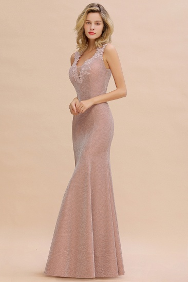 BMbridal Dusty Pink Shinning Long Prom Dress Mermaid With Appliques_12