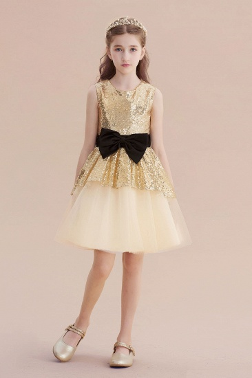 BMbridal A-Line Tulle Sequins Bows Knee Length Flower Girl Dress On Sale_5